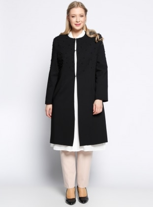 İnci Detaylı Uzun Ceket - Siyah - he&de He & De