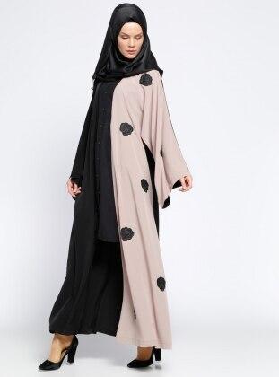 Güpür Detaylı Abaya - Siyah Ginezza