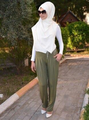 Pileli Pantolon - Haki Henna Elisa