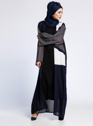 AJAL Desenli Kolsuz Elbise&Ferace İkili Takım - Lacivert Gri