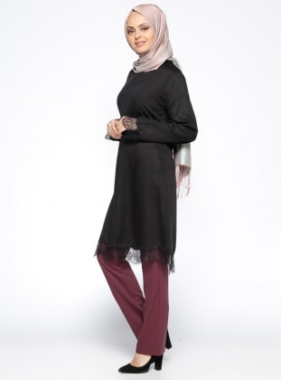 Kemerli Klasik Pantolon - Bordo CML Collection