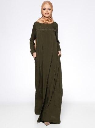 Drop Baskılı Elbise - Haki Ginezza