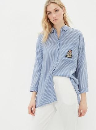 Çizgili Gömlek - Mavi Koton