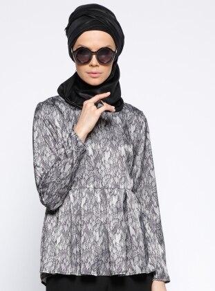 Desenli Bluz - Siyah Gri Meryem Acar