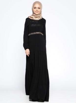 Ginezza Drop Baskılı Elbise - Siyah