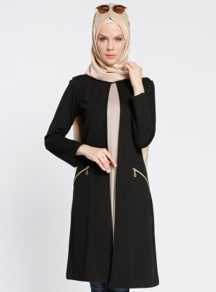 Fermuar Detaylı Ceket - Siyah Bwest