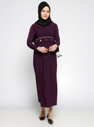 Purple - Crew neck - Unlined - Dress - Dadali 284313