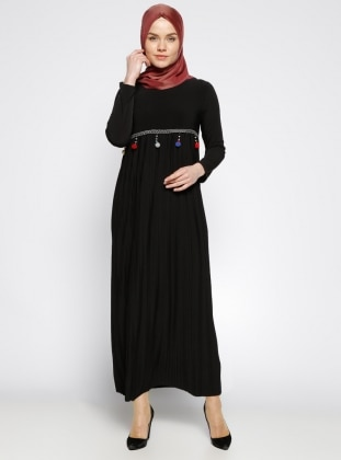Black - Crew neck - Unlined - Dress - Dadali 284315