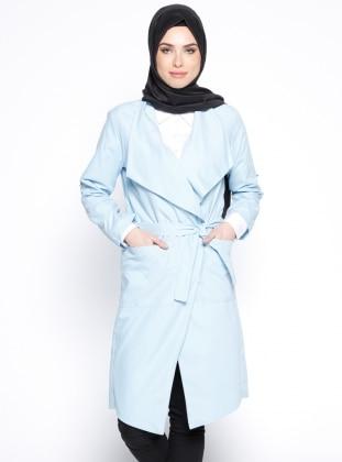 Şal Yaka Ceket - Mavi Vitrinsbutik