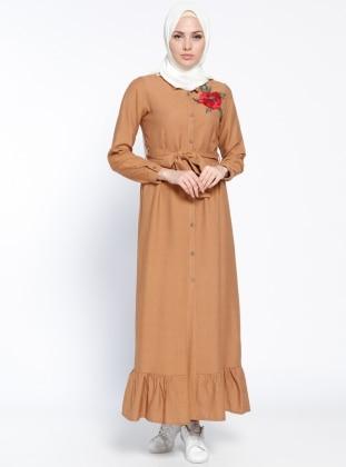 Modesty Boydan Düğmeli Elbise - Camel