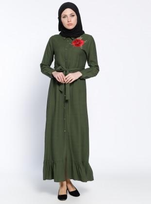 Modesty Boydan Düğmeli Elbise - Haki