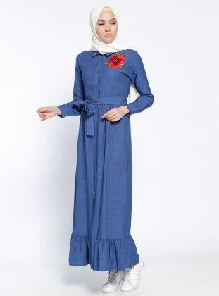 Modesty Boydan Düğmeli Elbise - Mavi