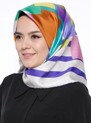 Desenli İpek Eşarp - Mor Ekru Silk Home