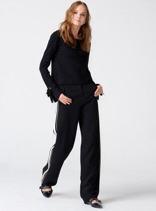 Yanı Şeritli Bol Paça Pantolon - Siyah Dilvin