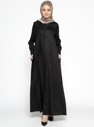 Fermuarlı Ferace - Vual Siyah ModaNaz