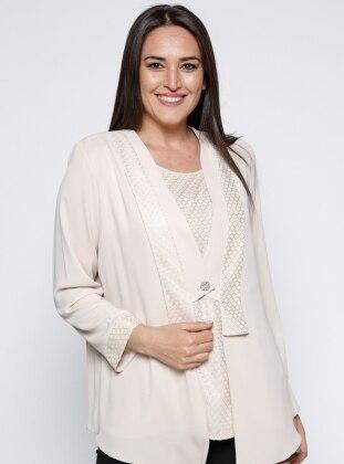 Kolsuz Bluz&Ceket İkili Takım - Taş Kifayet