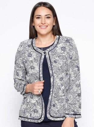 Kolsuz Bluz&Ceket İkili Takım - Lacivert Ekru Arıkan