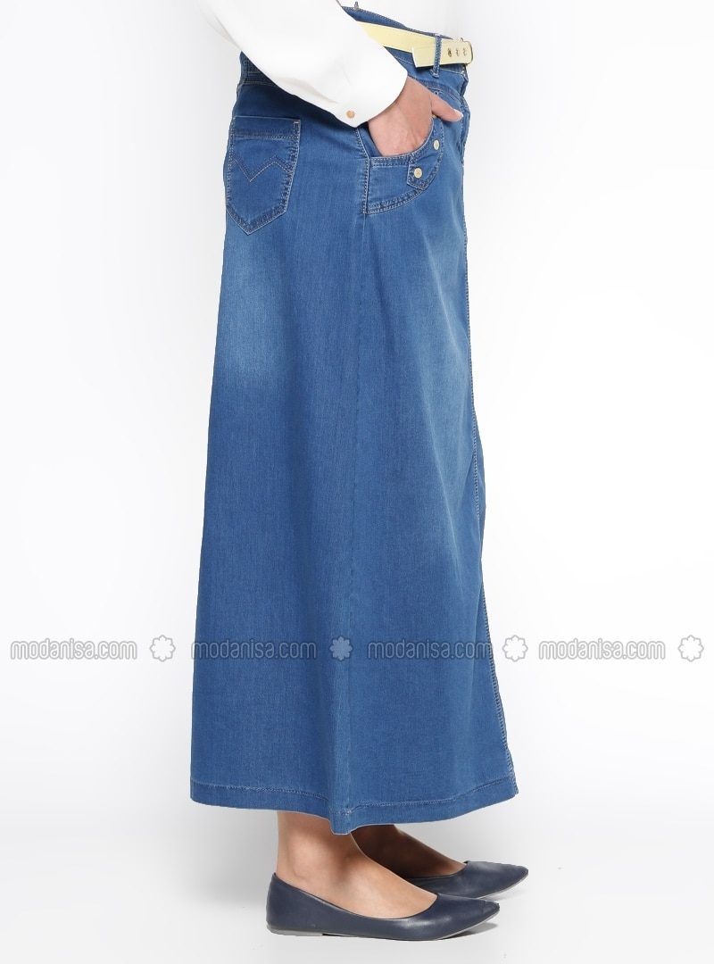navy blue unlined denim plus size skirt ginezza by