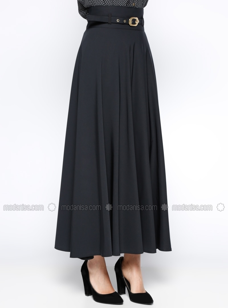 black fully lined skirt zinet by zinet modanisa
