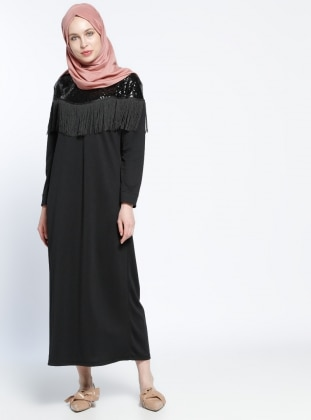Black - Crew neck - Unlined - Dress - Dadali 289152