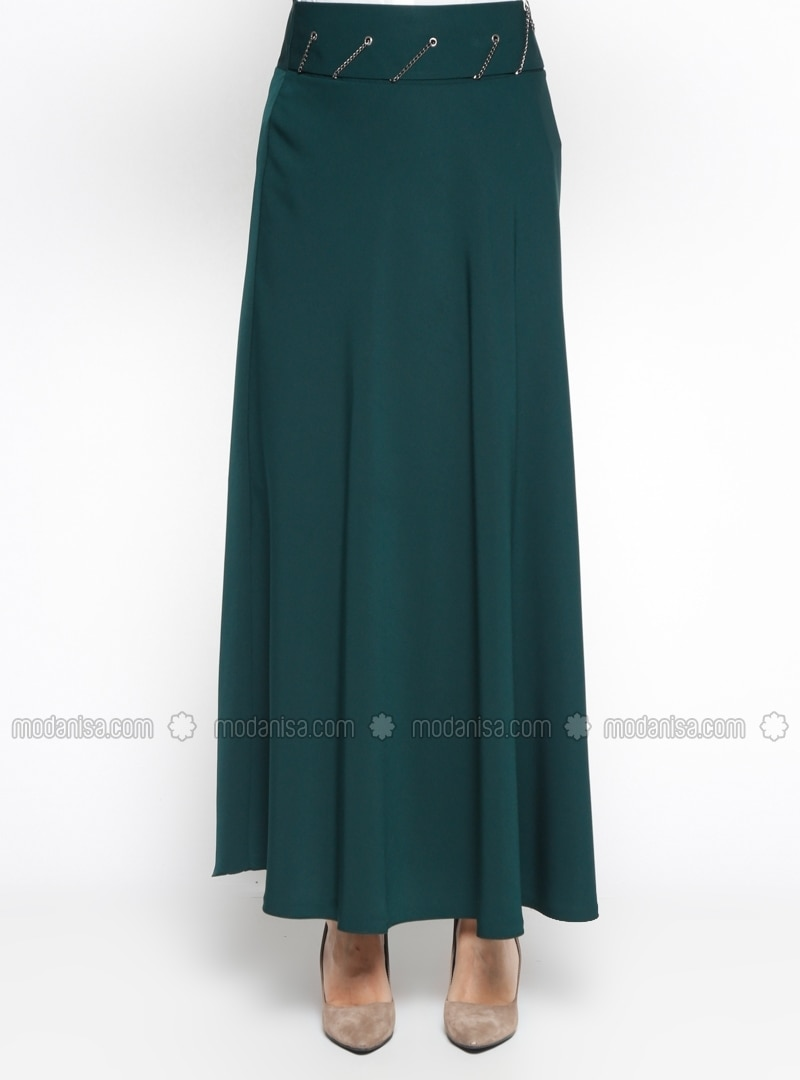 green fully lined skirt zinet by zinet modanisa