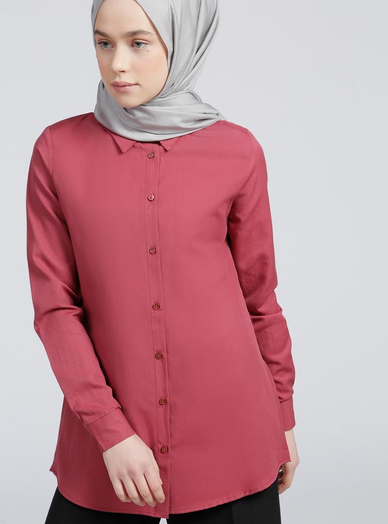 Pink - Maroon - Point Collar - Tunic - Everyday Basic, Light maroon