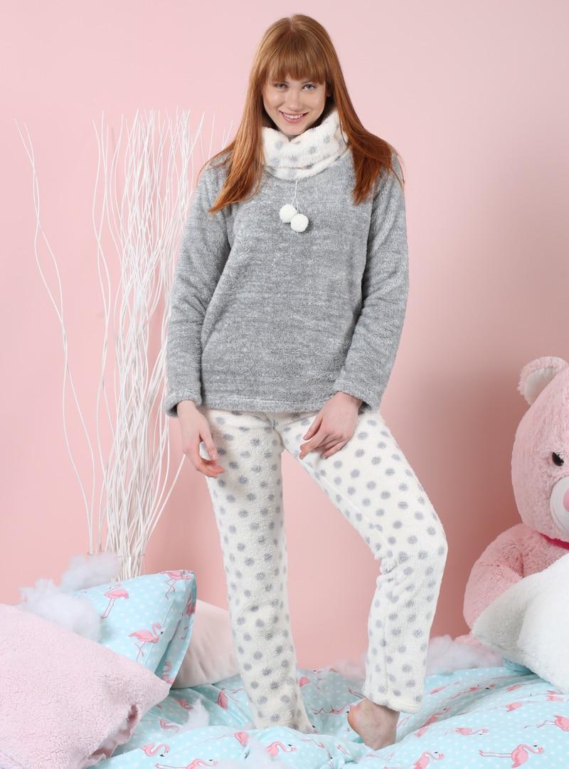 Polo neck - Ecru - Gray - Pyjama - Siyah inci, Standard