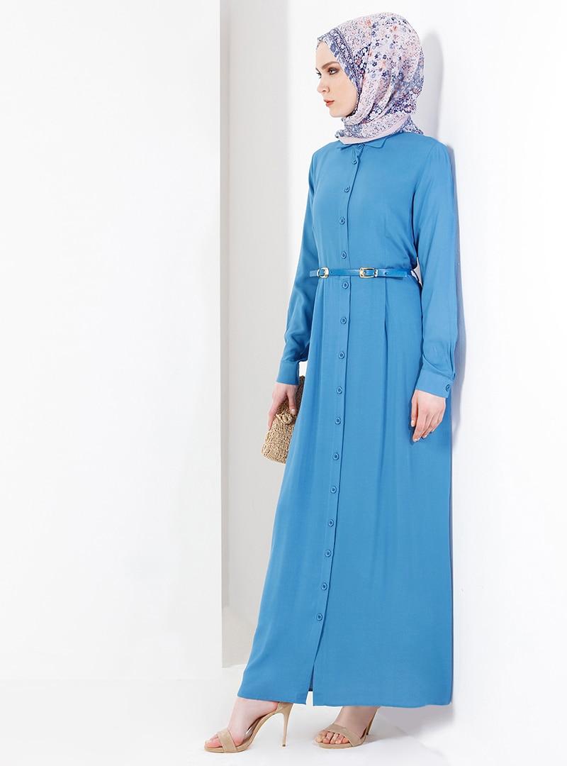 Купить со скидкой Petrol - Point Collar - Unlined - Viscose - Dresses - Refka