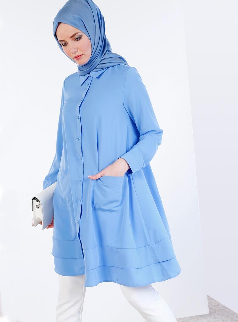 Купить со скидкой Blue - Point Collar - Tunic - Refka