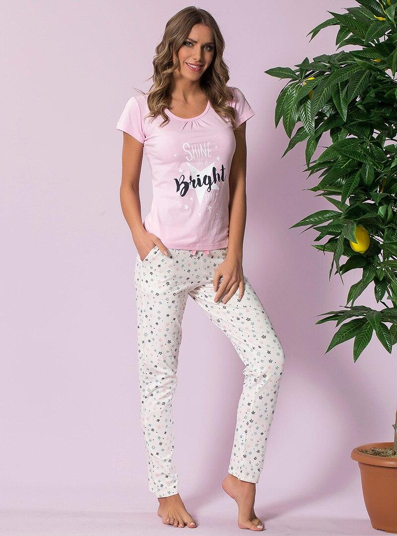 Pink - Crew neck - Multi - Pyjama - Siyah inci