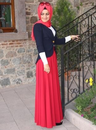 Pınar Şems Verev Etek - Mercan