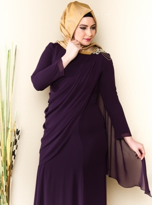 Evening Dress - Plum - Sevdem Abiye