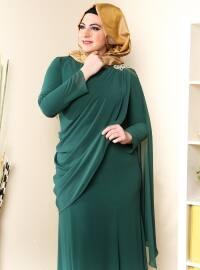 Üzeri Tül Detaylı Omuzu Taşlı Elbise - Yeşil - Sevdem