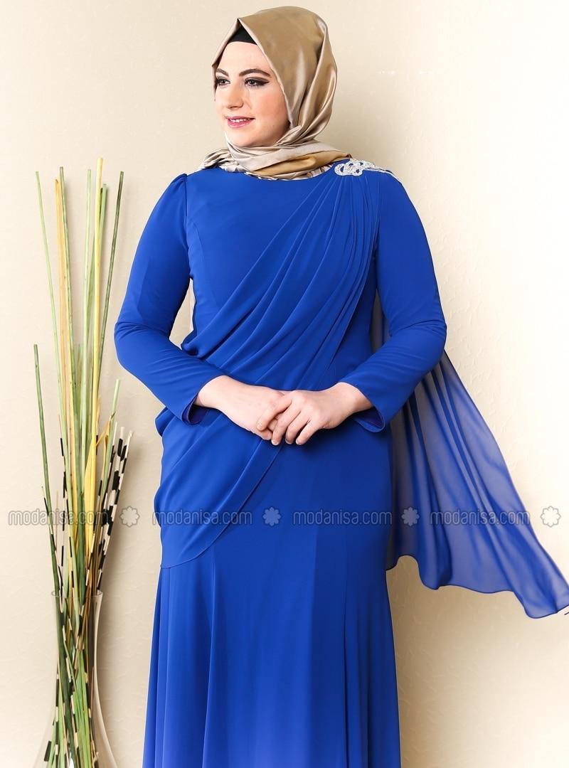 Top Tulle Detailed Shoulder Stone Patterned Dress - Saxe - Sevdem
