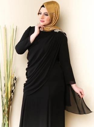 7177069aaf572 Üzeri Tül Detaylı Omuzu Taşlı Elbise - Siyah - Sevdem. Sevdem Abiye
