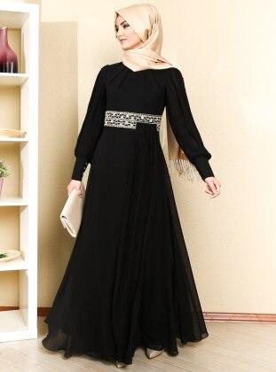 Beli Taş Detaylı Piliseli Abiye Elbise - Siyah - Sevdem Sevdem