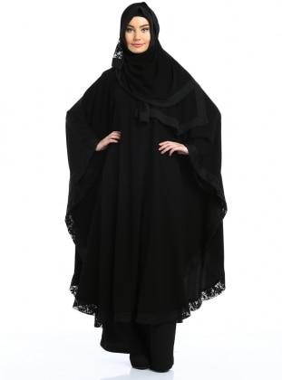 Abaya - Siyah Kenarı Siyah Dantelli