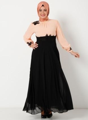 Yakasi Dantelli İşlemeli Uzun Şifon Elbise - Somon - Modaysa