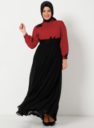 Yakasi Dantelli İşlemeli Uzun Şifon Elbise - Siyah Kırmızı - Modaysa