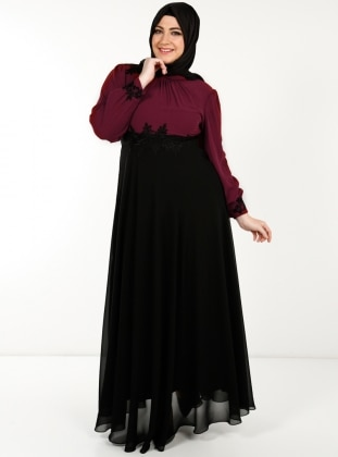 Yakasi Dantelli İşlemeli Uzun Şifon Elbise- Bordo - Modaysa