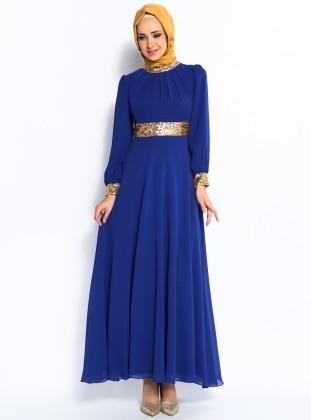 Yakası ve Menşeti Gold Şifon Abiye Elbise - Saks - Modaysa