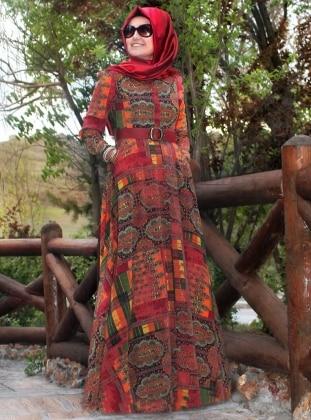 Pınar Şems Otantik Desenli Elbise - Bordo