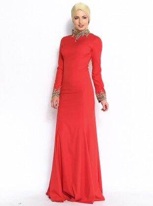 Boncuk Süslemeli Abiye Elbise - Kırmızı - Modaysa Modaysa