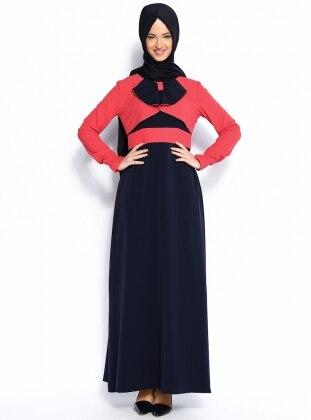 Fiyonk Süslemeli Elbise - Mercan - Vivezza