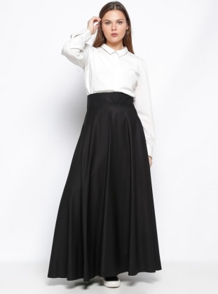 Plain circular skirt - Black