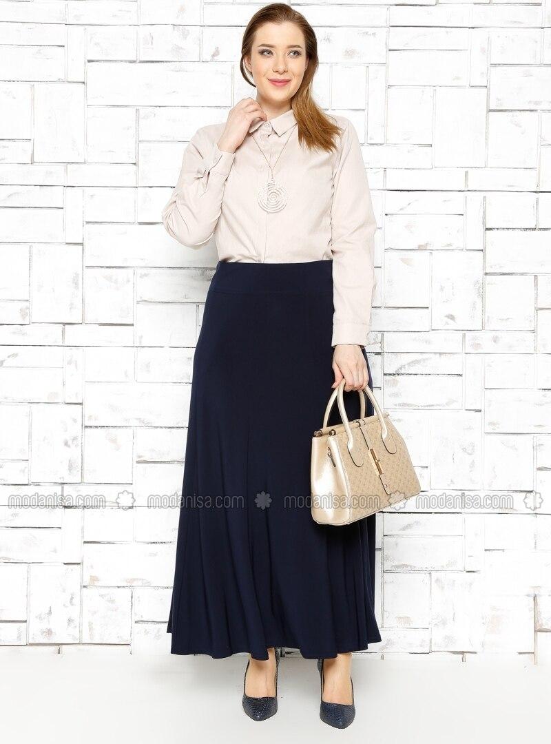 Classic Flared Skirt - Navy Blue - He&de