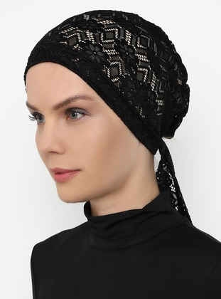 Lace Bonnet- Black