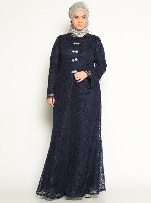Önü Broş Detaylı Abiye Elbise - Lacivert - Sevdem