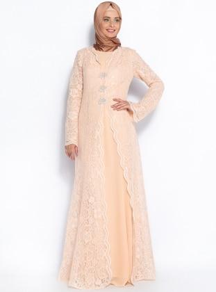 Önü Broş Detaylı Abiye Elbise - Somon - Sevdem