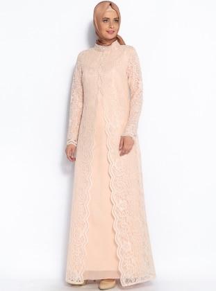 Üzeri Dantel Kaplamalı Abiye Elbise - Somon - Sevdem